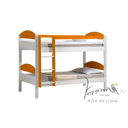 Verona Design Maximus White Single Bunk Bed in Orange - 90x190cm