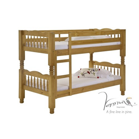 Verona Design Trieste Solid Pine Single Bunk Bed - 90x190cm
