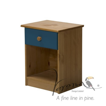 Verona Design Verona 1 Drawer Bedside Table in Antique Pine and Red
