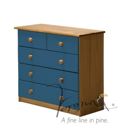 Verona Design Verona 3+2 Drawer Chest in Antique Pine and Blue