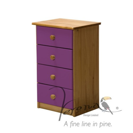 Verona Design Verona 4 Drawer Bedside Table in Antique Pine and Lilac