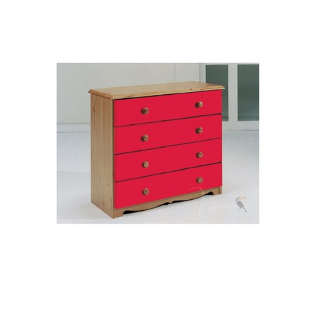 Verona Design Verona 4 Drawer Chest in Antique Pine and Red