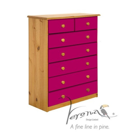 Verona Design Verona 5+2 Drawer Chest in Antique Pine and Fuchsia