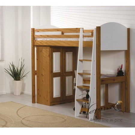 Verona Design Verona High-Sleeper Bedroom Set in Antique Pine and White