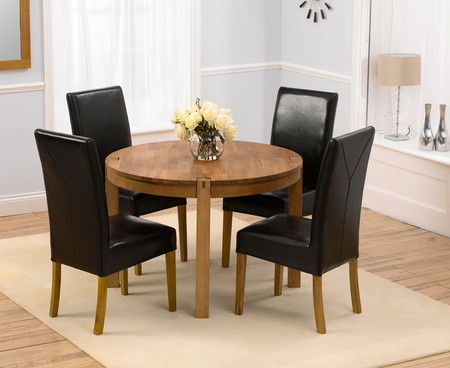 Verona Round Dining Table with Four Rustique Brown Chairs