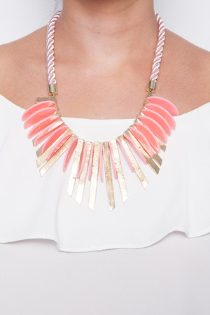 Vickie Pink Spiked Rope Necklace
