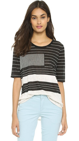 Vince Abstract Lines Top - Black/Off White