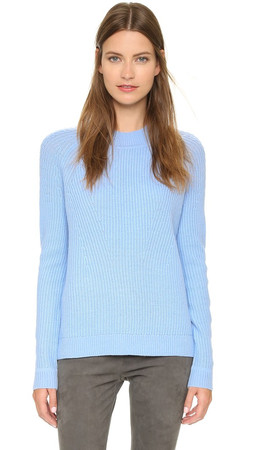 Vince Directional Rib Crew Sweater - Chambray