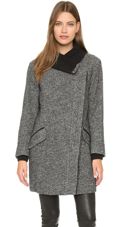 Vince Shawl Collar Asymmetrical Coat - Black/Off White