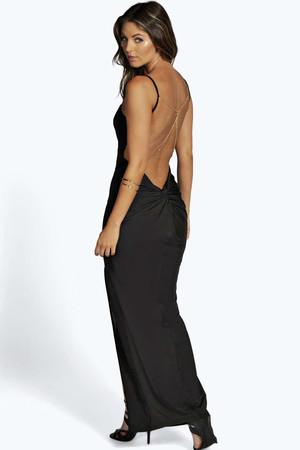 Vivy Slinky Back Chain Detail Maxi Dress black