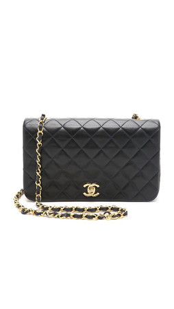 What Goes Around Comes Around Chanel 9'' Full Flap Bag (Previously Owned) - Navy