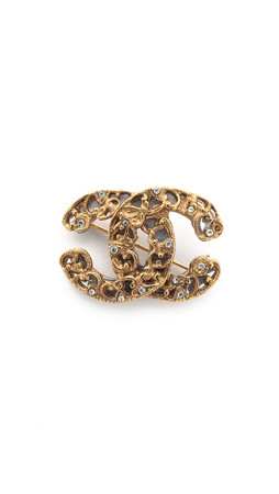 What Goes Around Comes Around Chanel Crystal Cc Pin (Previously Owned) - Crystal/Gold