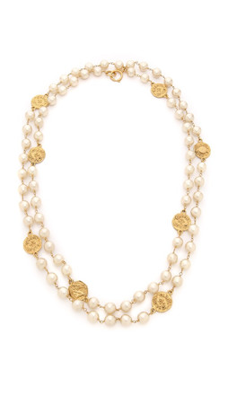 What Goes Around Comes Around Chanel Imitation Pearl Necklace With Coins (Previously Owned) - Pearl/Gold