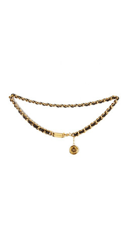 What Goes Around Comes Around Chanel Leather Chain Belt (Previously Owned) - Black/Gold