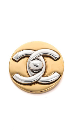 What Goes Around Comes Around Chanel Turn Lock Circle Pin (Previously Owned) - Gold/Silver