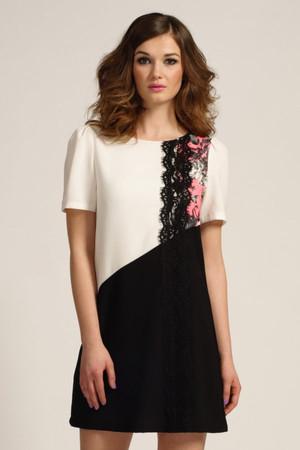 White, Black & Floral Short Sleeve Shift Dress
