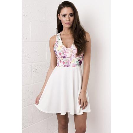 White Floral Bow Skater Dress