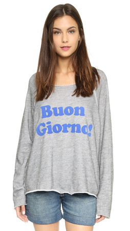 Wildfox Buon Giorno Morning Sweatshirt - Vintage Lace