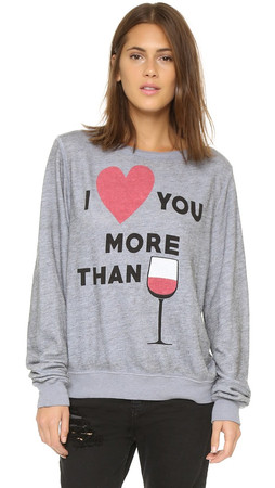 Wildfox I Love You More Than Baggy Beach Sweatshirt - Vintage Lace