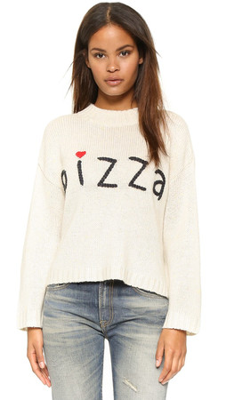 Wildfox Simply Pizza Dinner Party Sweater - Vintage Lace