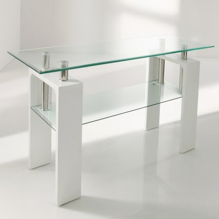 Wilkinson Furniture Calico White High Gloss and Glass Console Table
