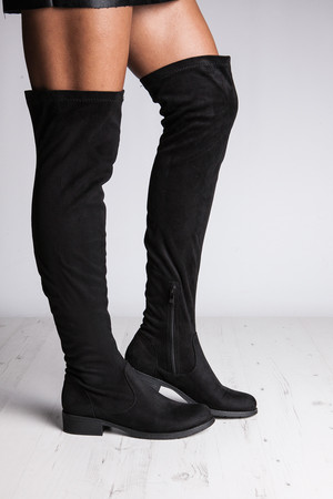 Willow Black Suede Over The Knee Boots