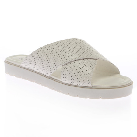 Willow White Strapped Slip On Mule Sandals