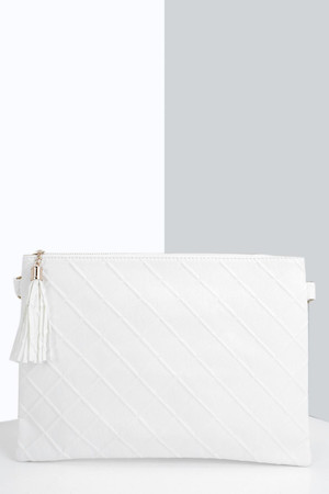 Woven Effect Oversize Clutch Bag white