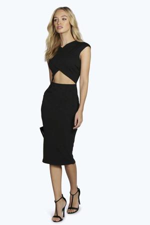 Wrap Cut Out Waist Midi Bodycon Dress black