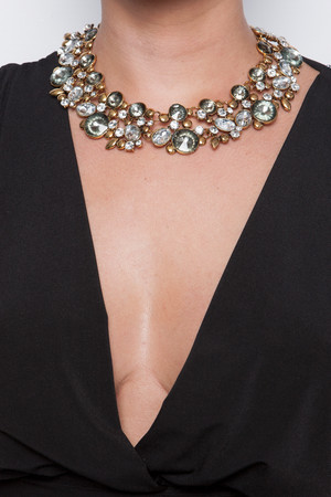 Zara Gold Metallic Jewelled Necklace