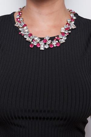 Zara Pink & Silver Jewelled Necklace