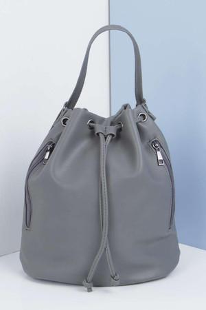 Zip Detail Bucket Duffle Bag grey
