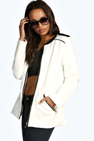 Zip Through Coat cream