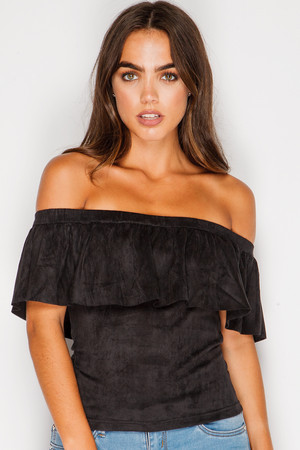 Ariana Black Suede Frill Bardot Top