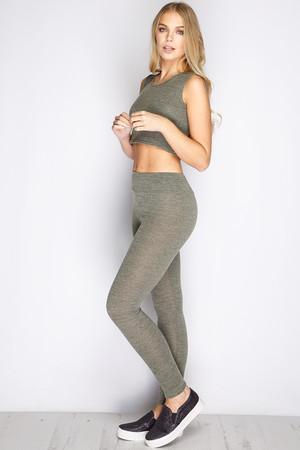 Ayana Khaki Cropped Loungewear Set