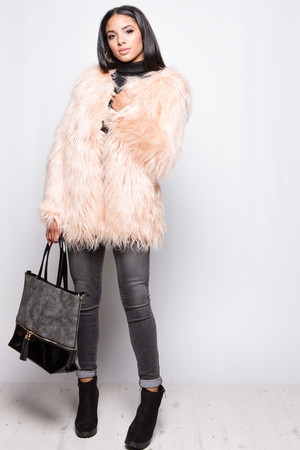 Bella Nude Shaggy Faux Fur Jacket
