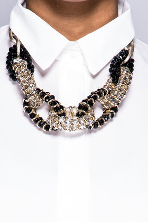 Caggie Black & Gold Jewelled Necklace