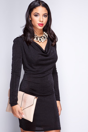 Carly Black Cowl Neck Bodycon Dress