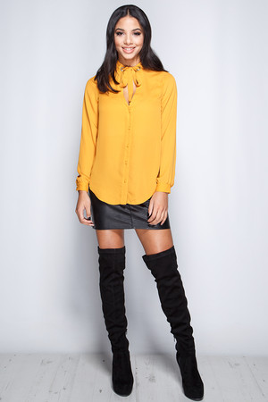 Claudia Mustard Tie Neck Shirt
