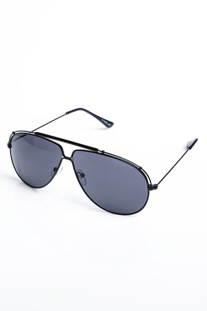 Flo Black Oversized Aviator Sunglasses