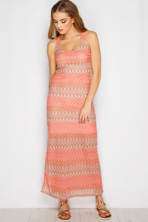 Giana Pink Aztec Textured Maxi Dress