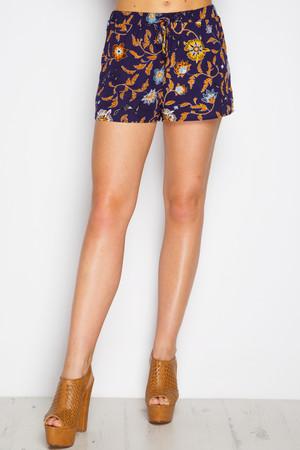 India Navy Floral Shorts