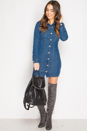 Kristina Denim Button Front Dress