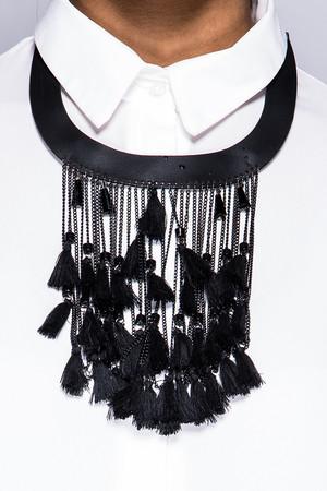 Lydia Black Tassel Choker Necklace