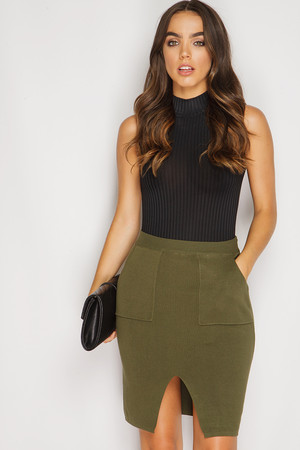 Macie Khaki Ribbed Split Hem Skirt