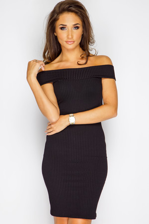 Megan McKenna Black Ribbed Off Shoulder Dress