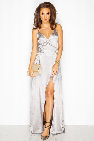 Megan McKenna Grey Silk Maxi Wrap Dress