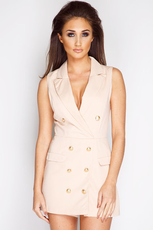 Megan McKenna Nude Button Tux Playsuit