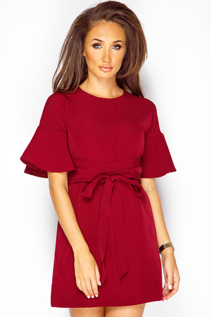 Megan Mckenna Wine Frill Sleeve Shift Dress