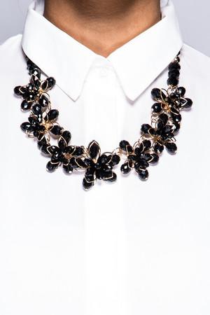 Melanie Black & Gold Flower Necklace